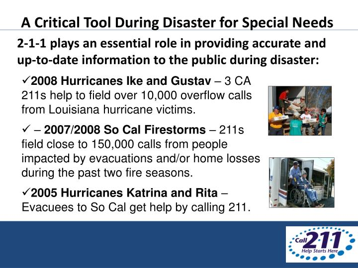 A Critical Tool During Disaster for Special Needs