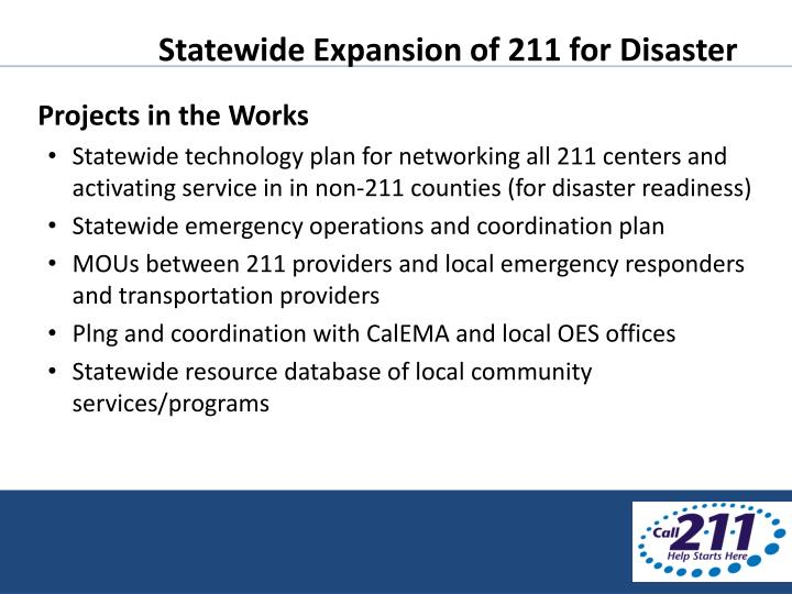 Statewide Expansion of 211 for Disaster