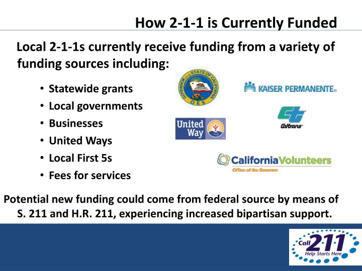How 2-1-1 is Currently Funded