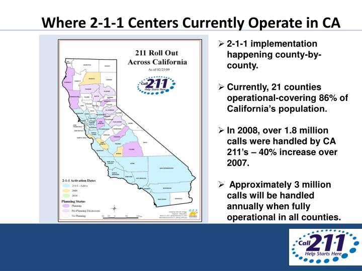 Where 2-1-1 Centers Currently Operate in CA