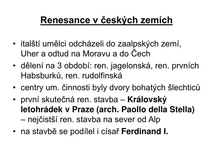 Renesance v českých zemích