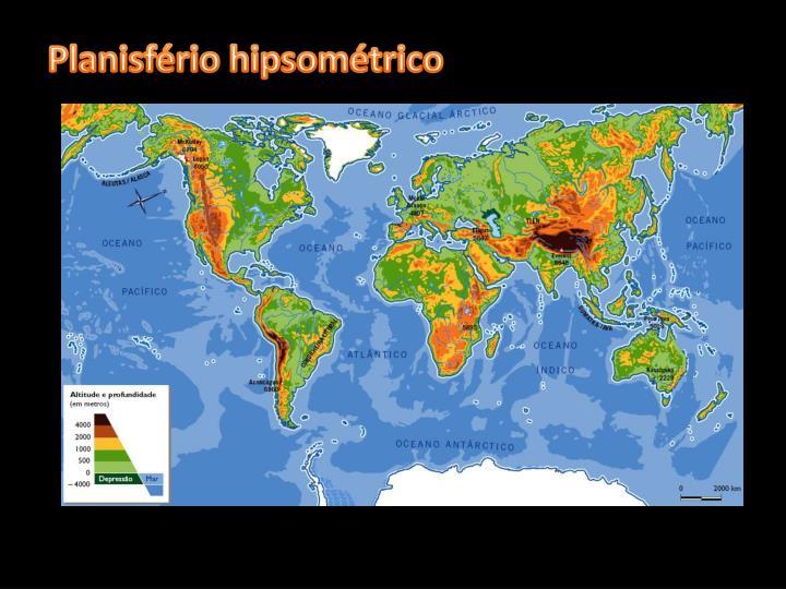 Planisfério hipsométrico