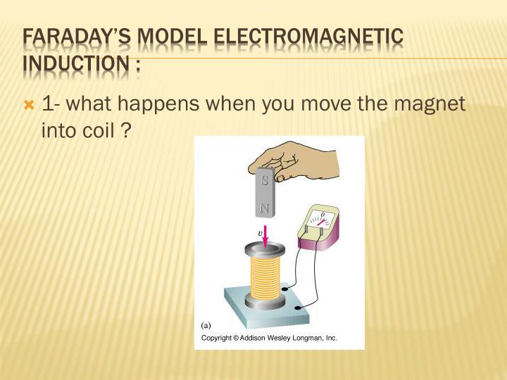 1- what happens when you move the magnet into coil ?