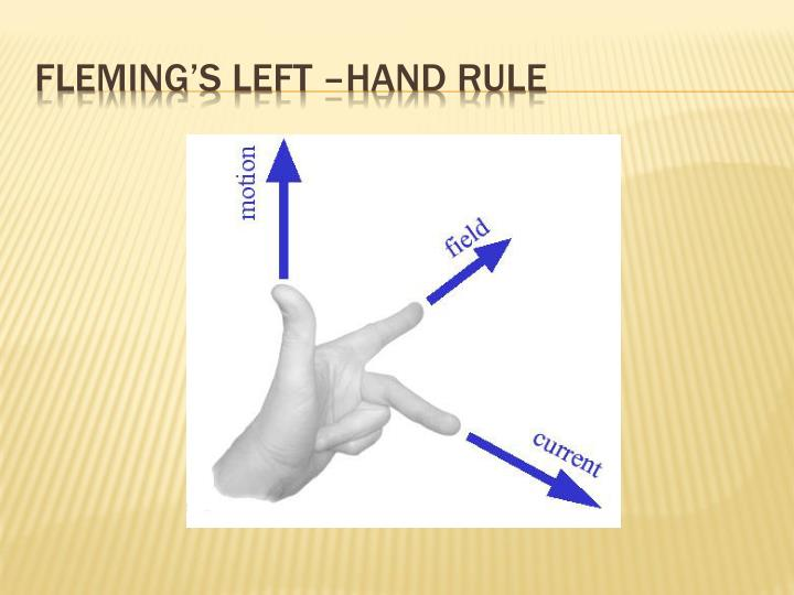 Fleming's left –hand rule