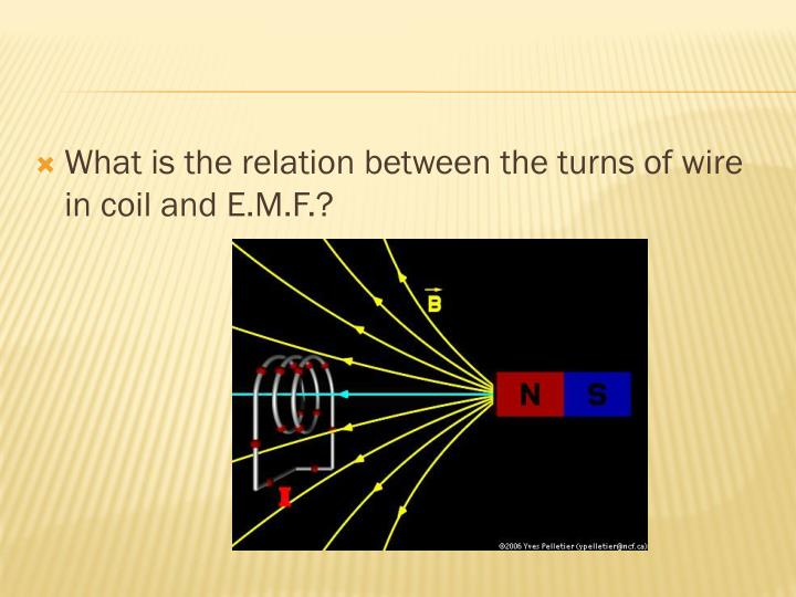 What is the relation between the turns of wire in coil and E.M.F.?