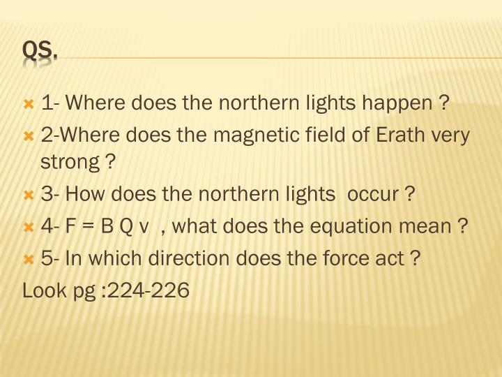 1- Where does the northern lights happen ?