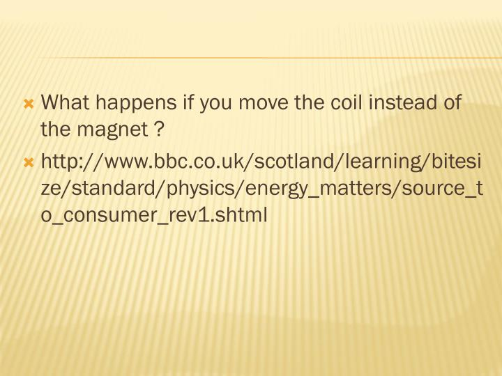 What happens if you move the coil instead of the magnet ?