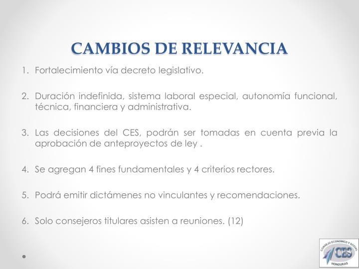 CAMBIOS DE RELEVANCIA