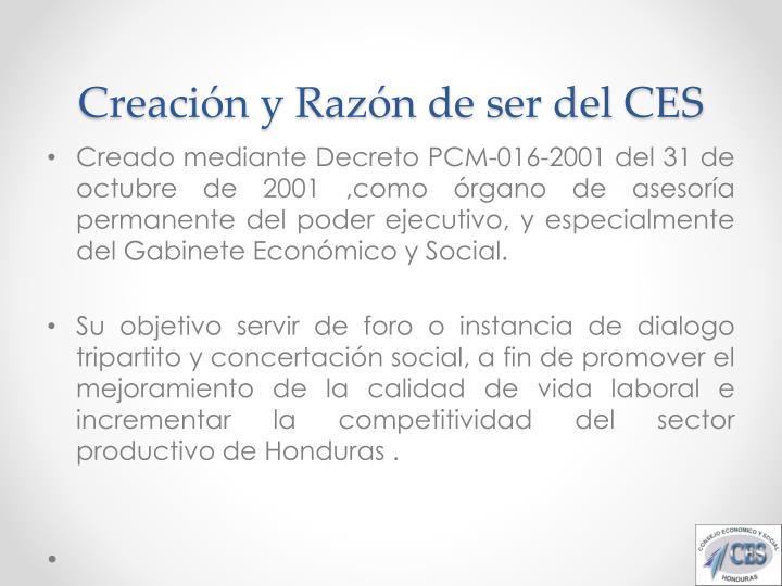 Creación y Razón de ser del CES