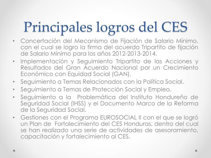 Principales logros del CES