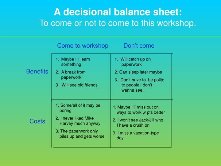 A decisional balance sheet:
