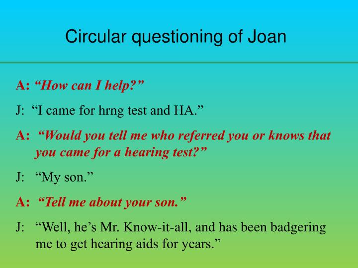 Circular questioning of Joan