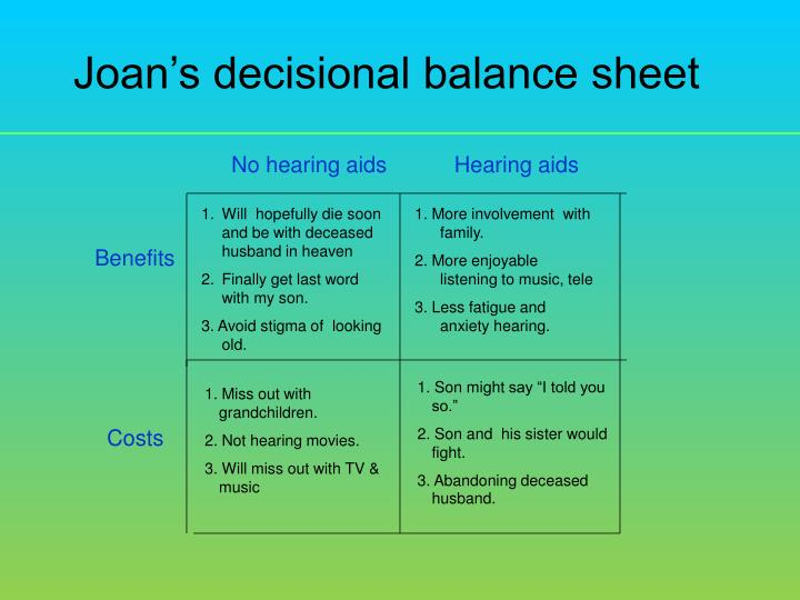 Joans decisional balance sheet