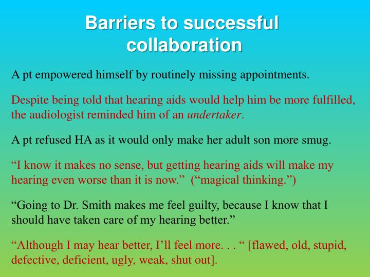 Barriers to successful
