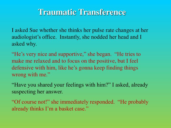 Traumatic Transference