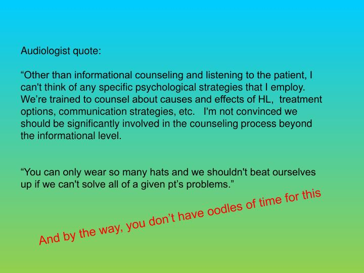Audiologist quote: