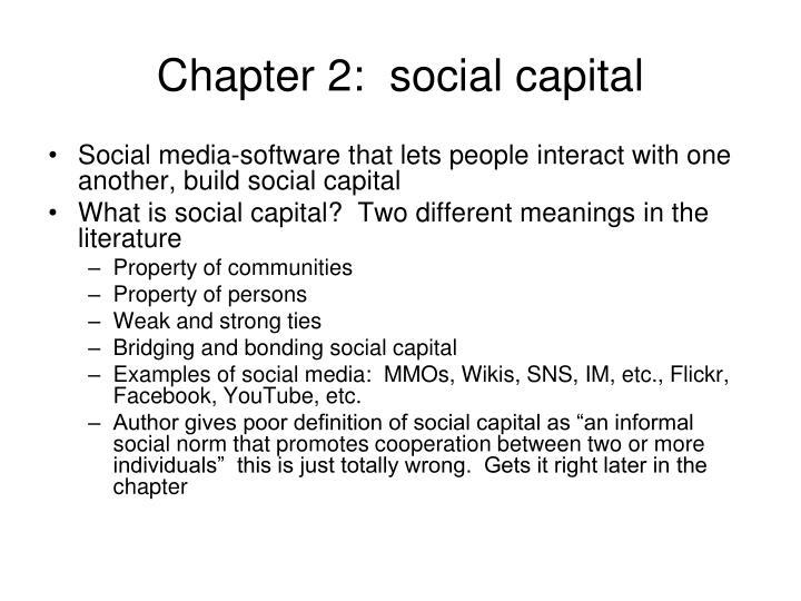 Chapter 2:  social capital