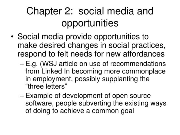 Chapter 2:  social media and opportunities