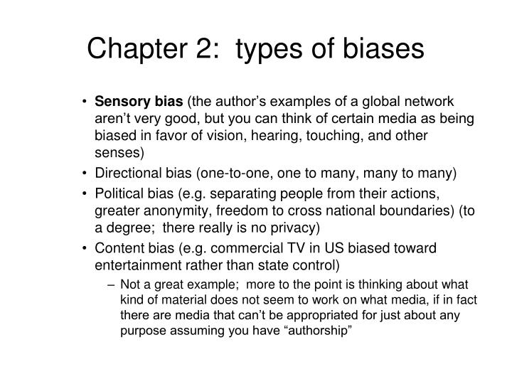 Chapter 2:  types of biases
