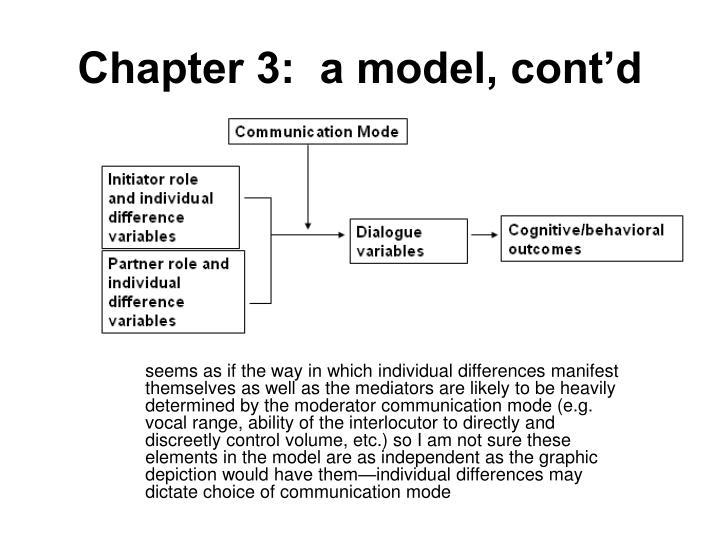 Chapter 3:  a model, cont'd
