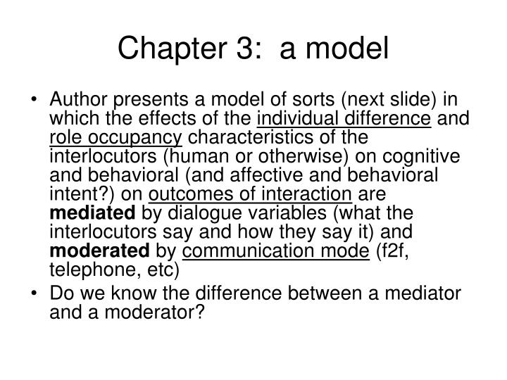 Chapter 3:  a model