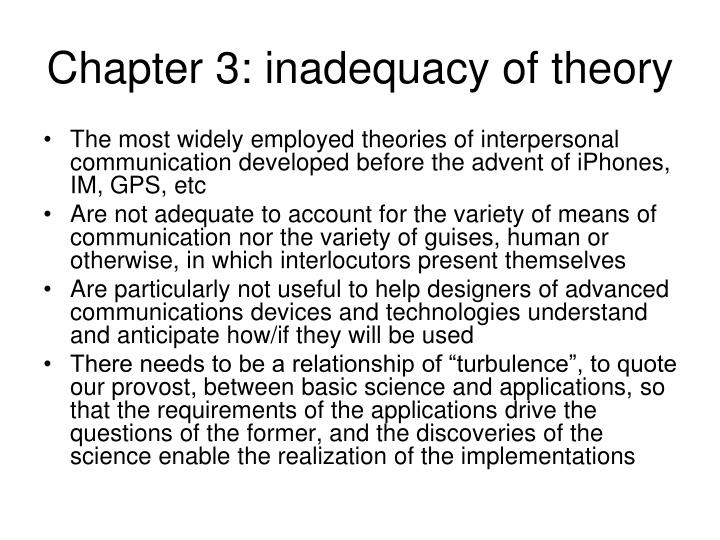 Chapter 3: inadequacy of theory