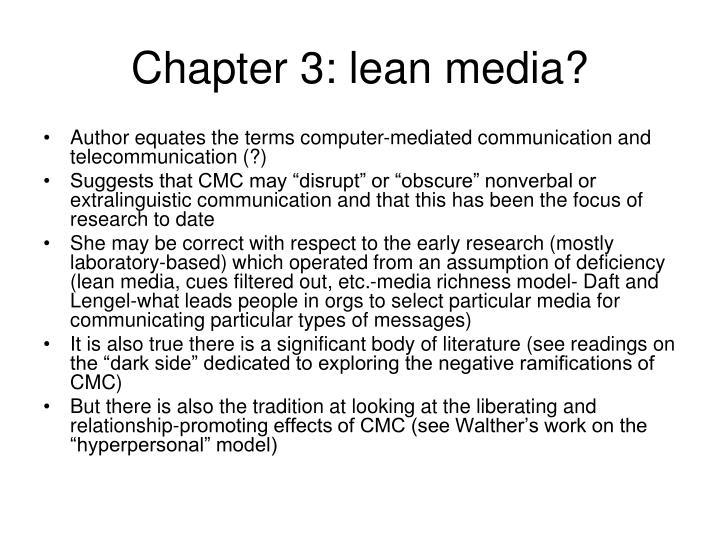 Chapter 3: lean media?