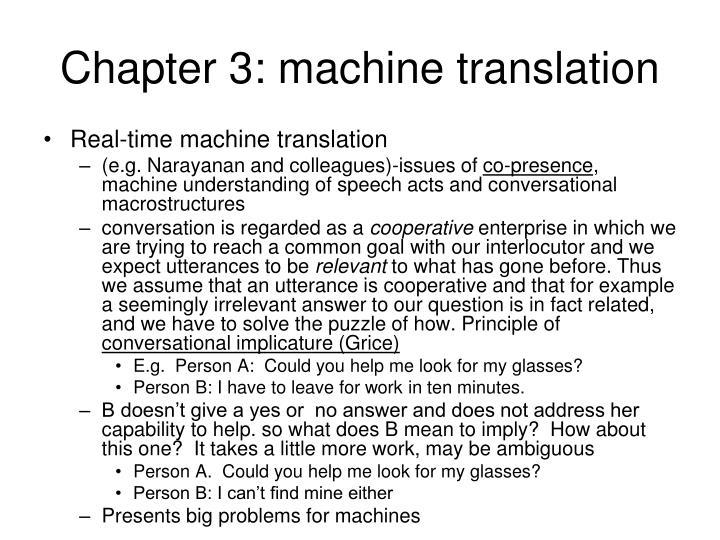 Chapter 3: machine translation