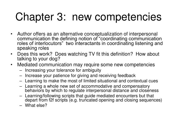 Chapter 3:  new competencies