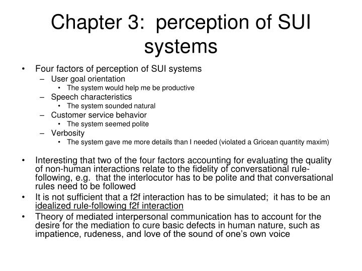 Chapter 3:  perception of SUI systems