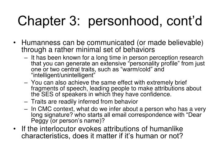 Chapter 3:  personhood, cont'd