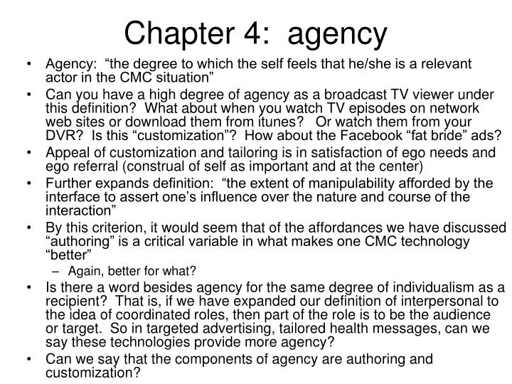 Chapter 4:  agency