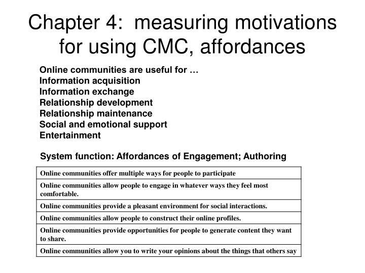 Chapter 4:  measuring motivations for using CMC, affordances