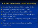 cms p4p initiatives mma before