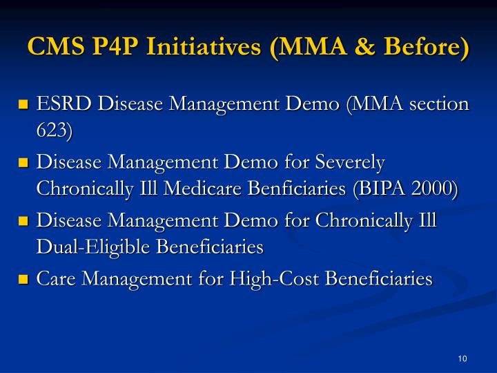 CMS P4P Initiatives (MMA & Before)