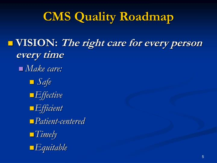 CMS Quality Roadmap