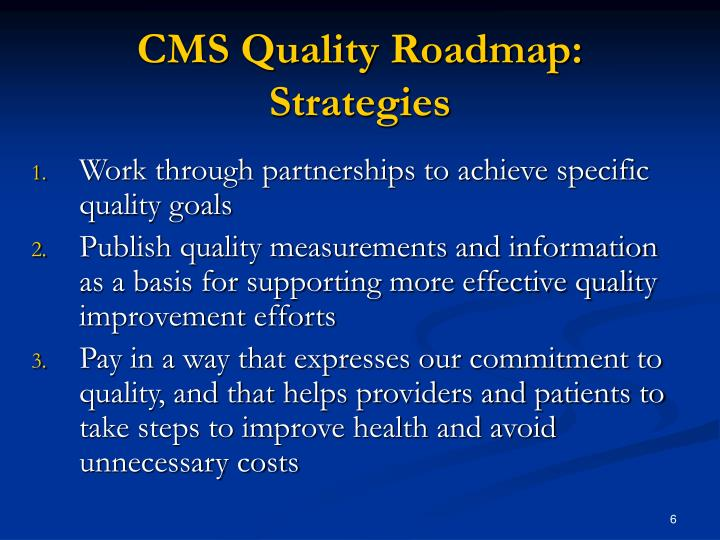 CMS Quality Roadmap: Strategies