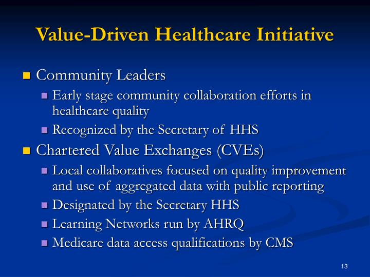Value-Driven Healthcare Initiative