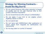 strategy for winning contracts avoid the big don ts