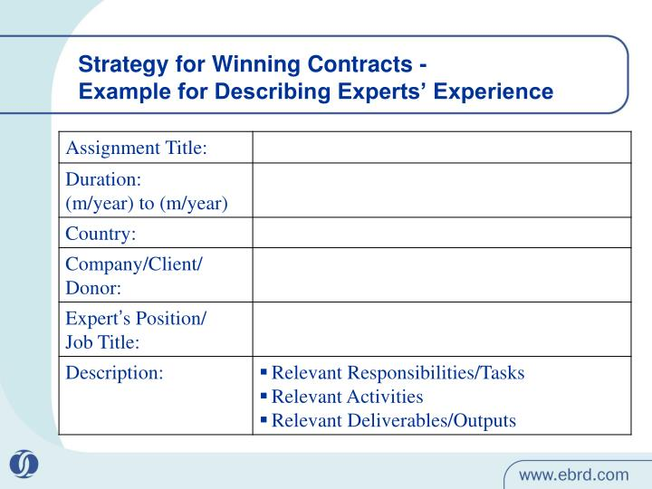 Strategy for Winning Contracts -