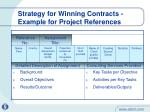 strategy for winning contracts example for project references