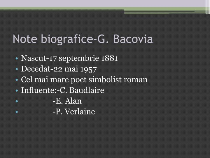 Note biografice g bacovia