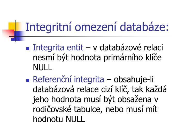 Integritní omezení databáze: