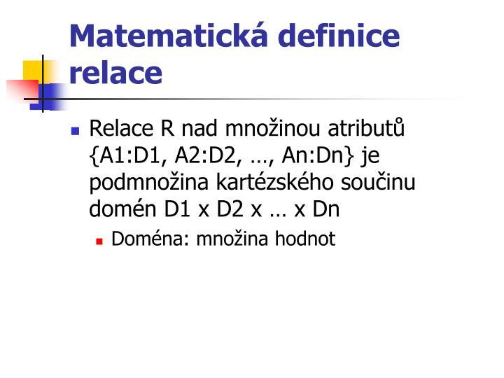 Matematická definice relace