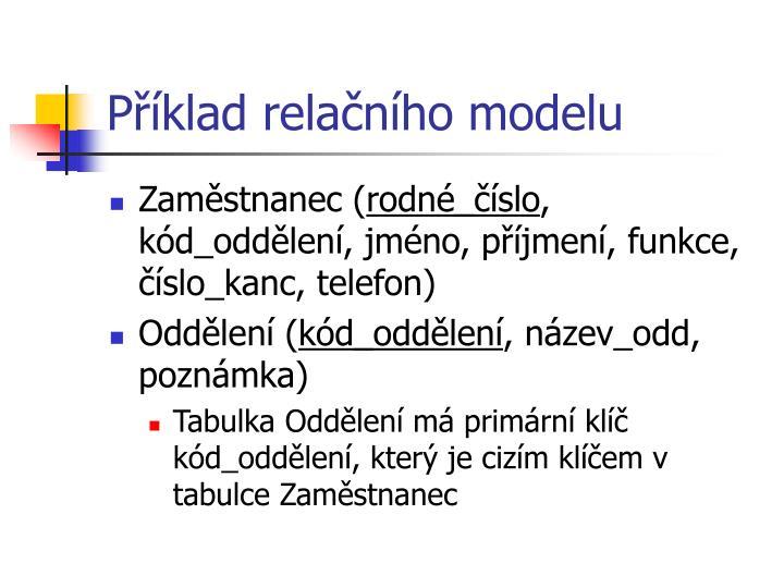 Příklad relačního modelu