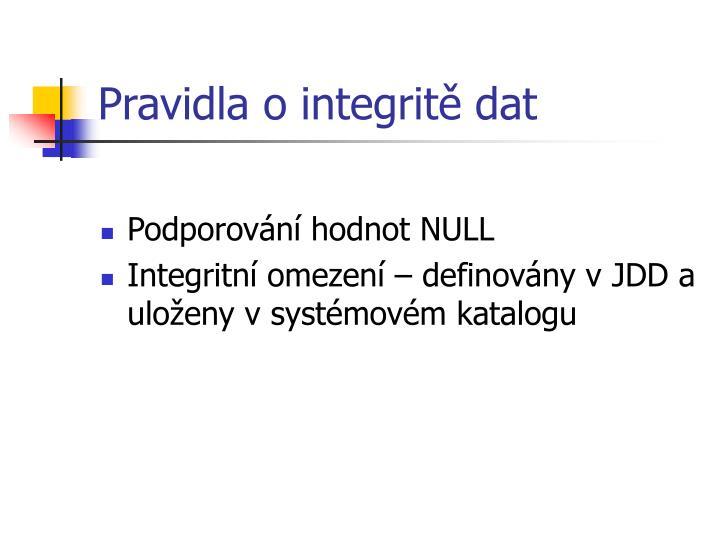 Pravidla o integritě dat