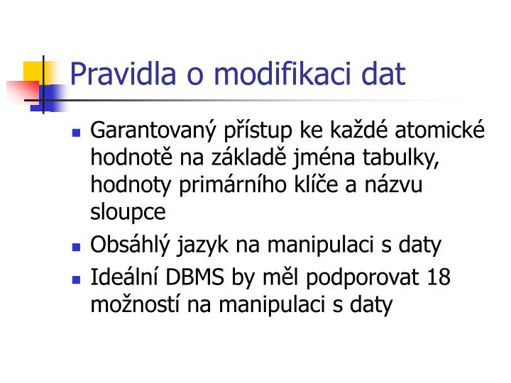 Pravidla o modifikaci dat