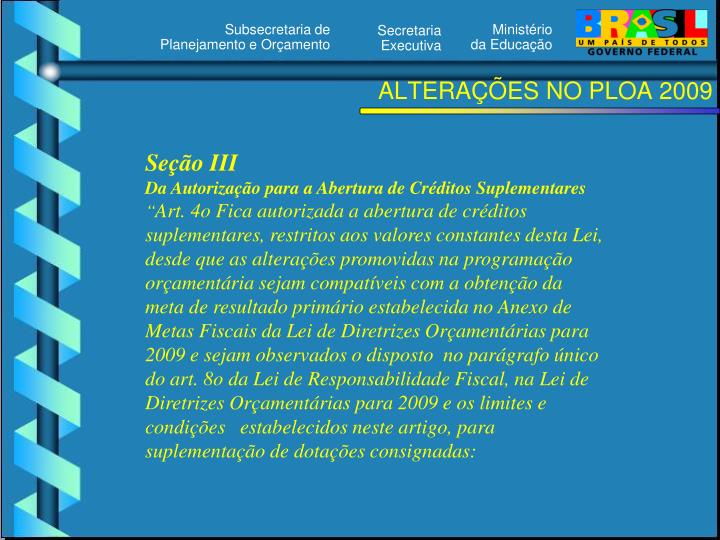 ALTERAÇÕES NO PLOA 2009