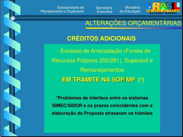 ALTERAÇÕES ORÇAMENTÁRIAS