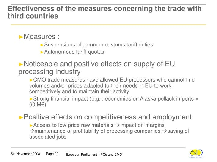 Effectiveness of the measures concerning the trade with third countries